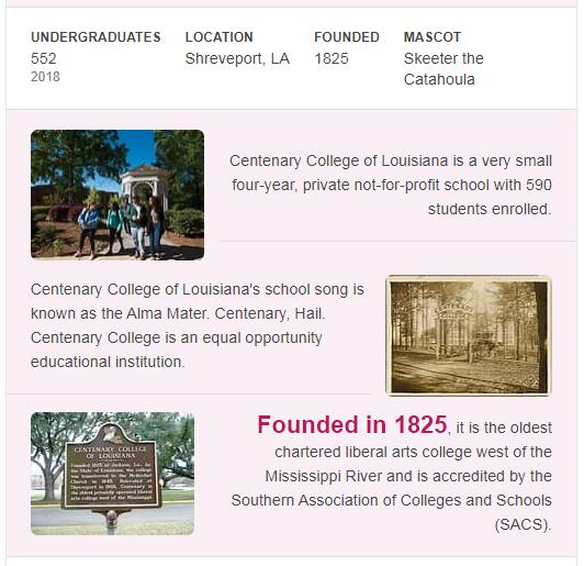 Centenary College History