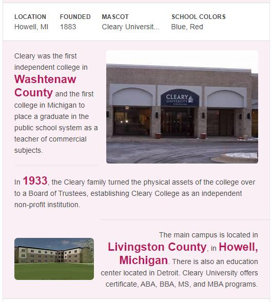 Cleary University History