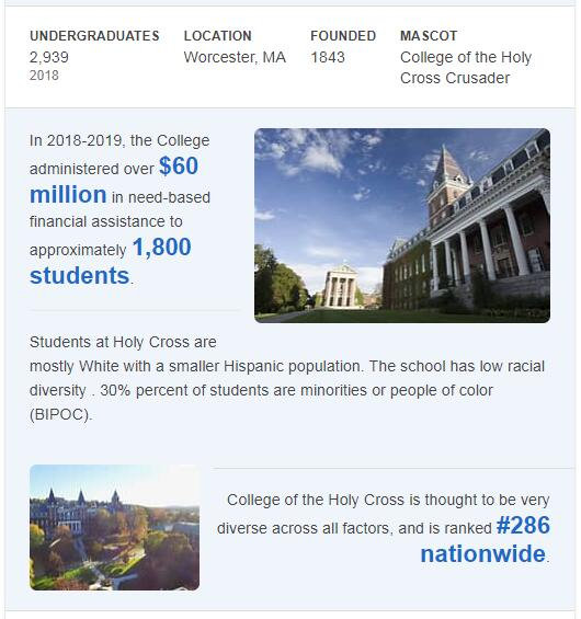 College of the Holy Cross History