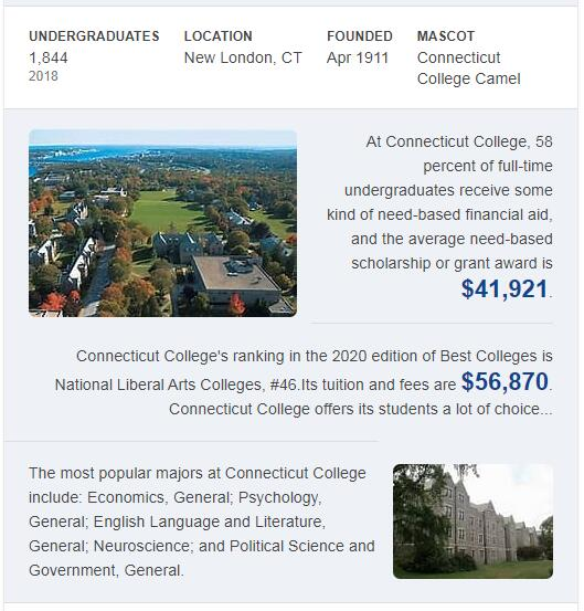Connecticut College History