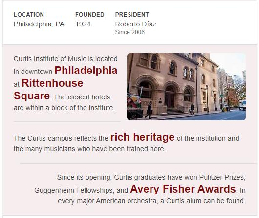 Curtis Institute of Music History