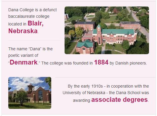 Dana College History