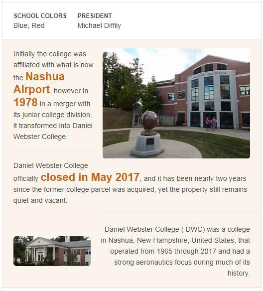 Daniel Webster College History
