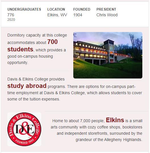 Davis and Elkins College History