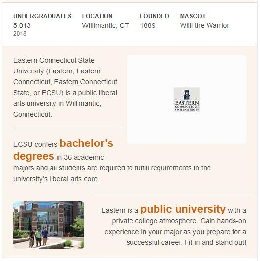 Eastern Connecticut State University History