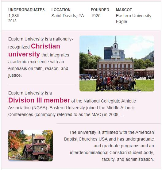 Eastern University History