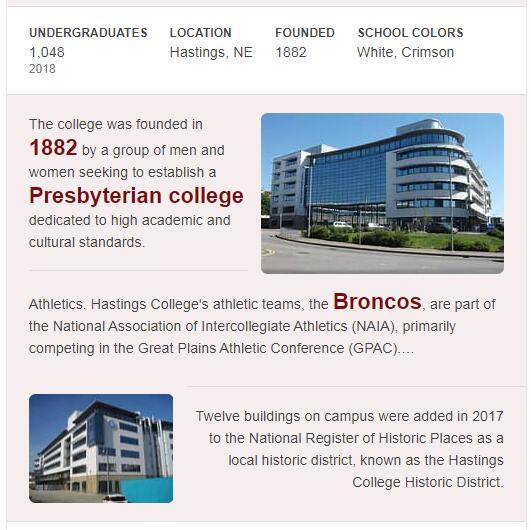 Hastings College History