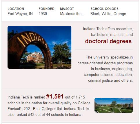 Indiana Institute of Technology History