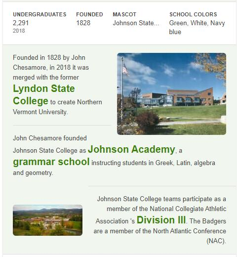 Johnson State College History