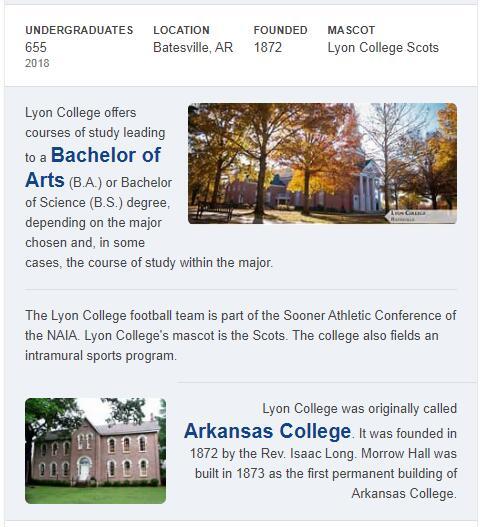 Lyon College History