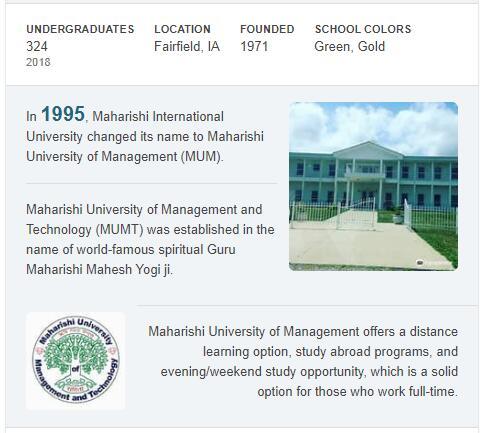Maharishi University of Management History
