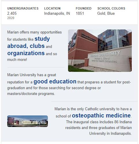 Marian College History