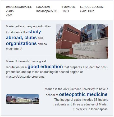 Marian University History