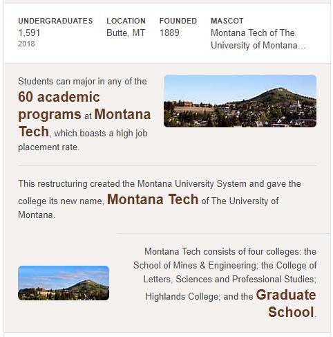 Montana Tech of the University of Montana History