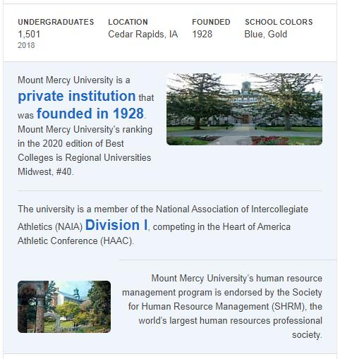 Mount Mercy College History
