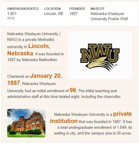 Nebraska Wesleyan University History