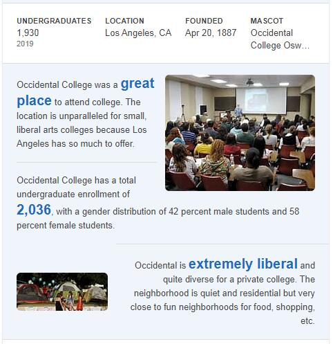Occidental College History