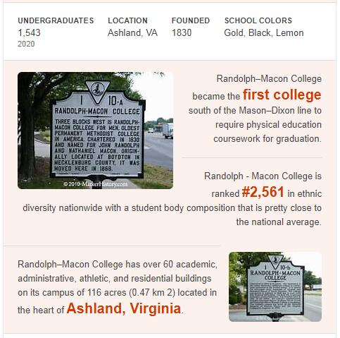 Randolph-Macon College History