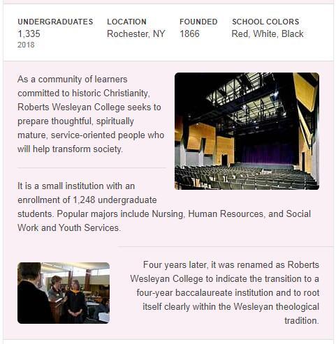 Roberts Wesleyan College History