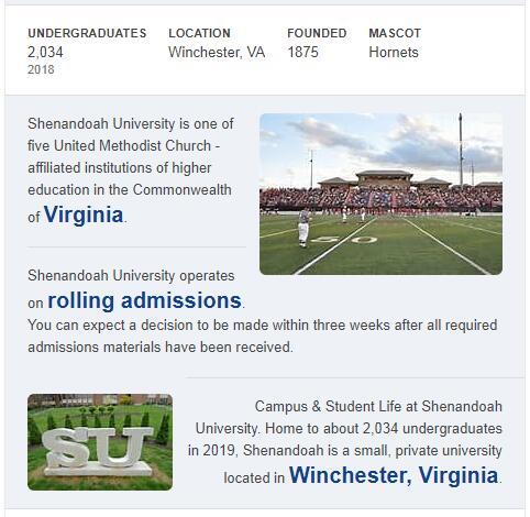 Shenandoah University History