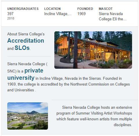 Sierra Nevada College History