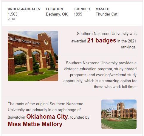 Southern Nazarene University History