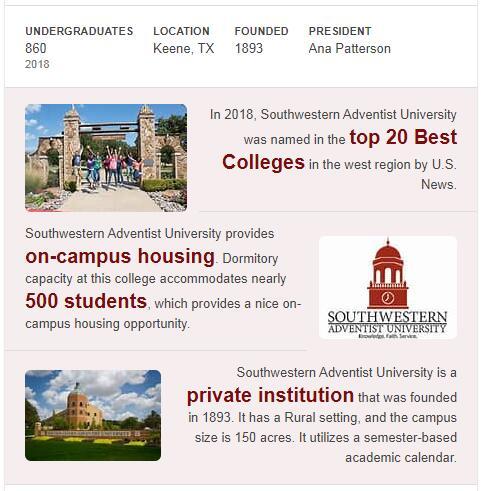 Southwestern Adventist University History