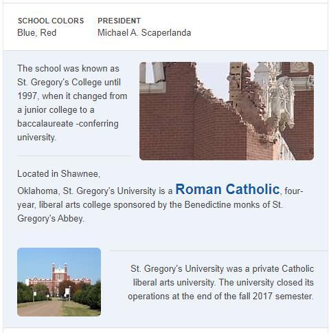 St. Gregory's University History
