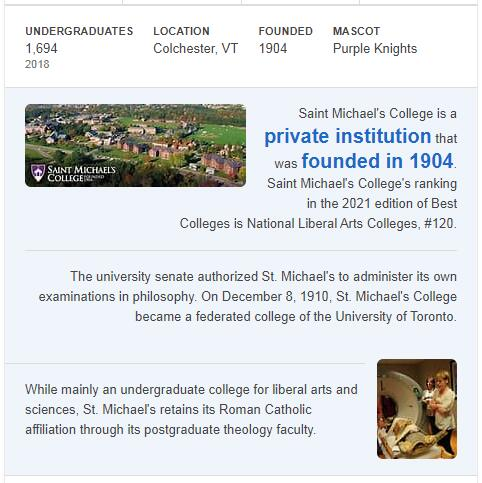 St. Michael's College History