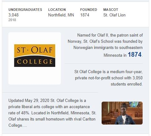 St. Olaf College History