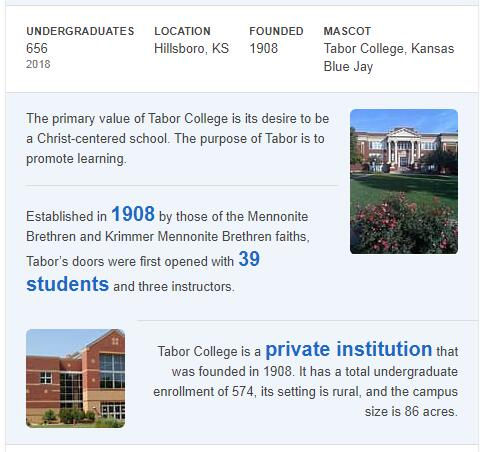 Tabor College History