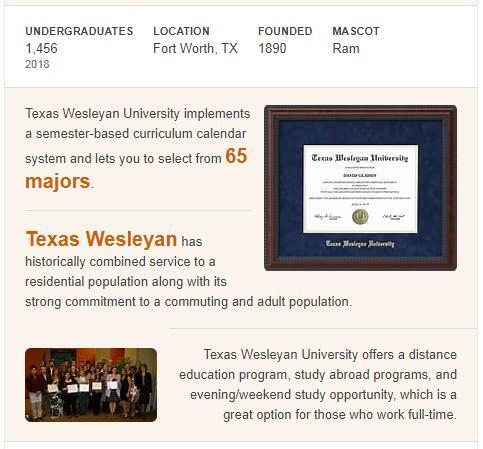 Texas Wesleyan University History