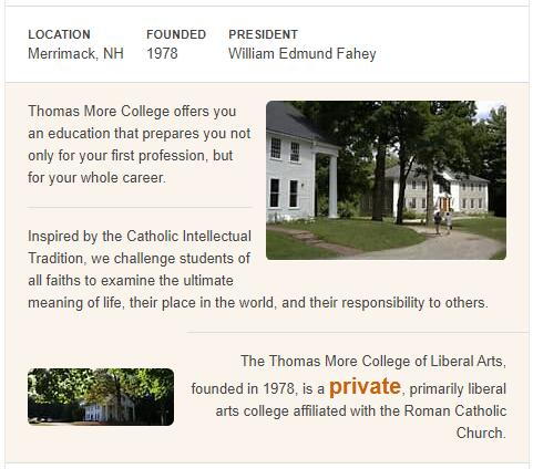 Thomas More College of Liberal Arts History