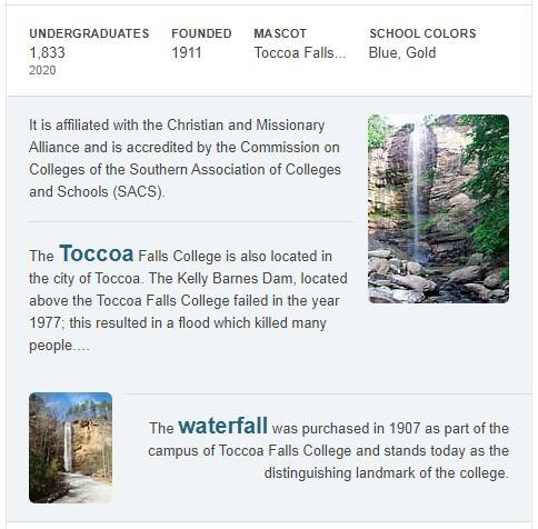 Toccoa Falls College History