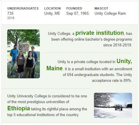 Unity College History