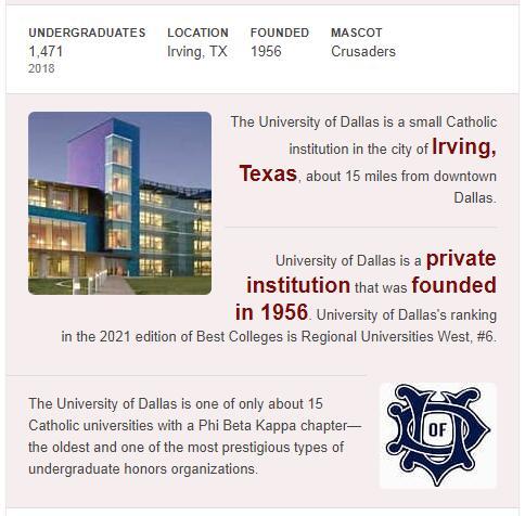 University of Dallas History