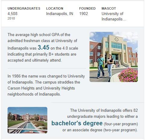 University of Indianapolis History