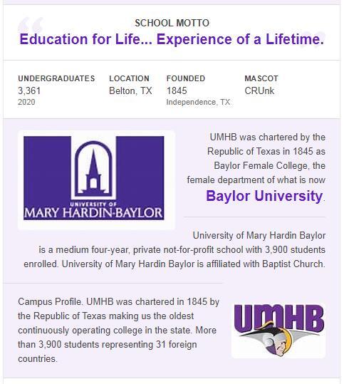 University of Mary Hardin-Baylor History