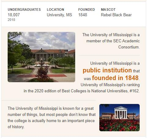 University of Mississippi History