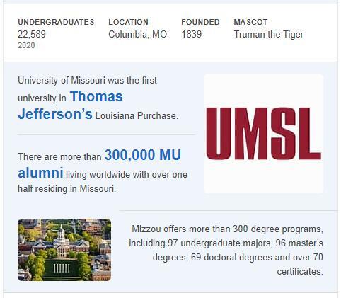 University of Missouri History