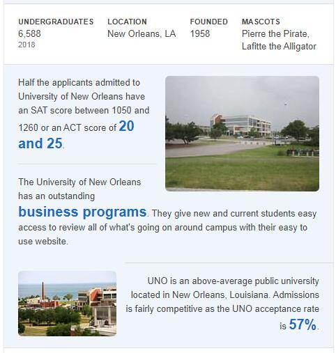 University of New Orleans History