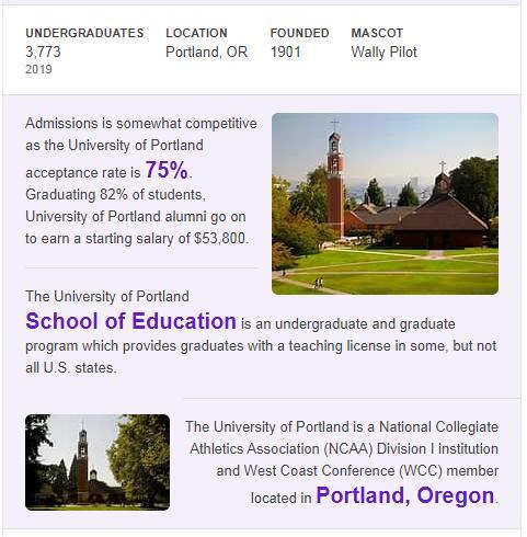 University of Portland History
