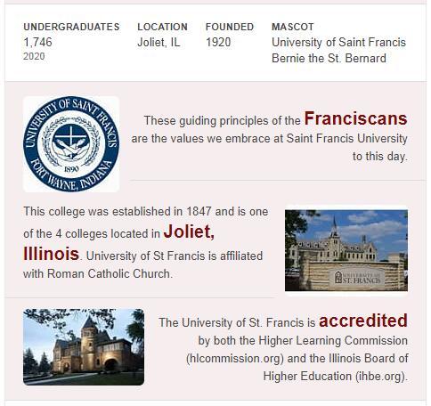 University of St. Francis History