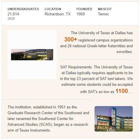 University of Texas-Dallas History