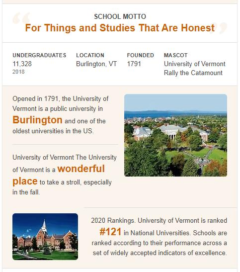 University of Vermont History