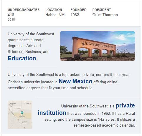 University of the Southwest History