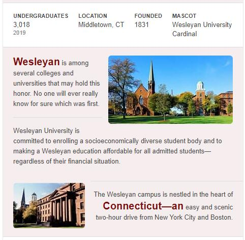 Wesleyan University History