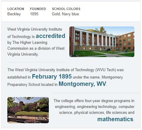 West Virginia University Institute of Technology History
