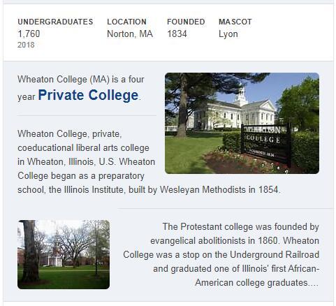 Wheaton College Massachusetts History