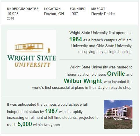 Wright State University History
